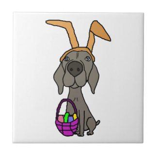 Cute Funny Weimaraner with Bunny Ears Tile