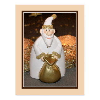 Cute funny white and golden Santa photo Postcard