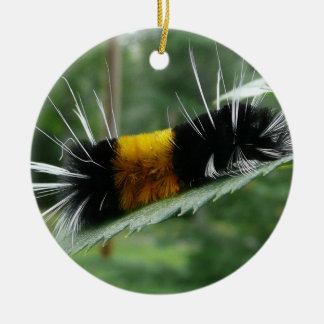 Cute Fuzzy Caterpillar Ceramic Ornament