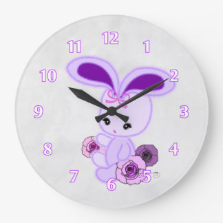 Cute Fuzzy Gothic Bunny Large Clock