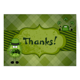 Cute Fuzzy Leprechauns and Clovers Irish Thank You Note Card