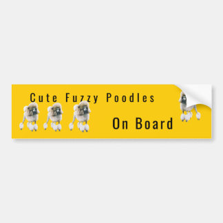 Cute Fuzzy Poodles On Board Bumper Sticker
