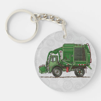 Cute Garbage Truck Trash Truck Double-Sided Round Acrylic Keychain