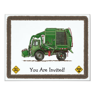"Cute Garbage Truck Trash Truck 4.25"" X 5.5"" Invitation Card"
