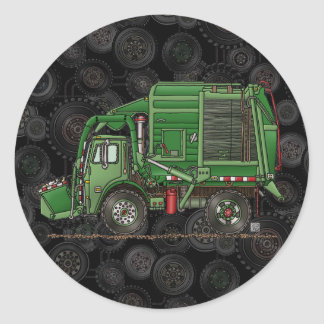 Cute Garbage Truck Trash Truck Round Sticker