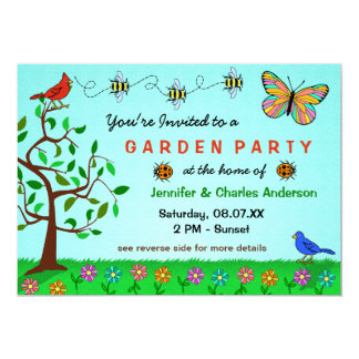 Cute Garden Party Whimsical Summer Flowers Bugs Card