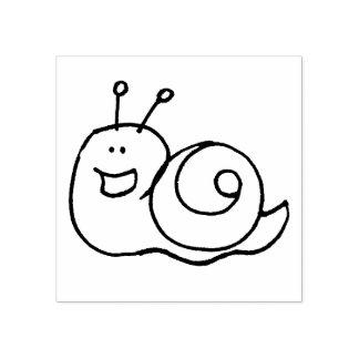 cute garden snail cartoon rubber stamp