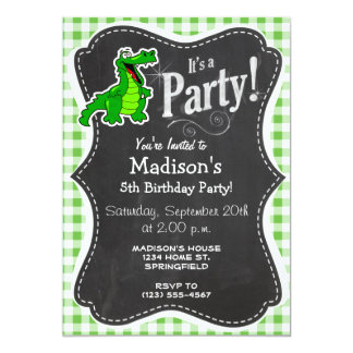 Cute Gator; Green Gingham Card