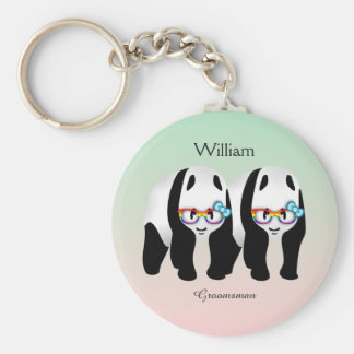 Cute Gay Pandas Rainbow Wearing Glasses Keychain