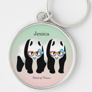 Cute Gay Pandas Rainbow Wearing Glasses Wedding Silver-Colored Round Keychain