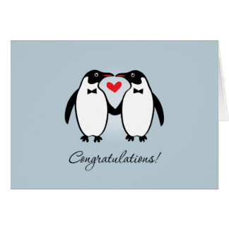 Cute Gay Penguins Wedding Congratulations Greeting Card