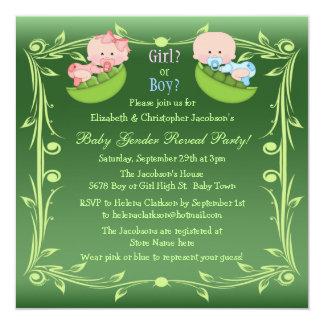 Cute Gender Reveal Babies in Pea Pods Card
