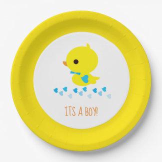 Cute Gender Reveal Boy Duckie Paper Plate