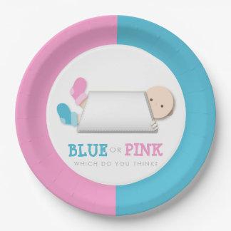 Cute Gender Reveal Peek-a-Boo Baby Booties Paper Plate