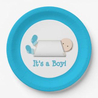 Cute Gender Reveal Peek-a-Boo Blue Baby Booties Paper Plate