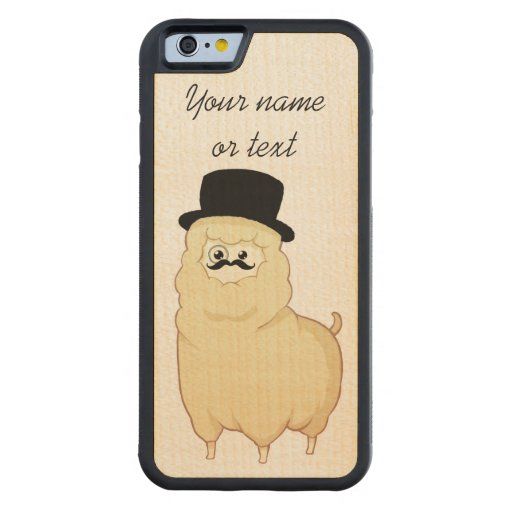 Cute Gentleman Alpaca with your name Carved® Maple iPhone 6 Bumper Case