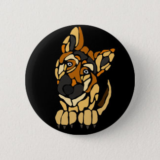 Cute German Shepherd Dog Art 2 Inch Round Button