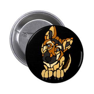 Cute German Shepherd Dog Art 2 Inch Round Button