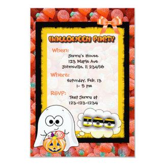 Cute Ghost, Cat & Pumpkin Candy Halloween Invites