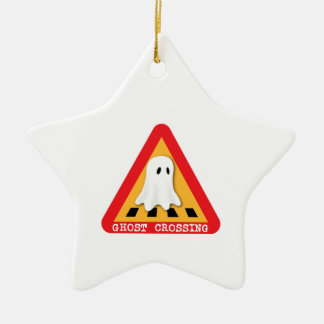 Cute Ghost Crossing Sign Ceramic Ornament