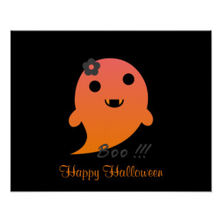 "Cute  Ghost With Flower And Word ""Boo"" Poster"