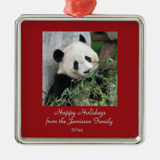 Cute Giant Panda Christmas Holiday Ornament Square