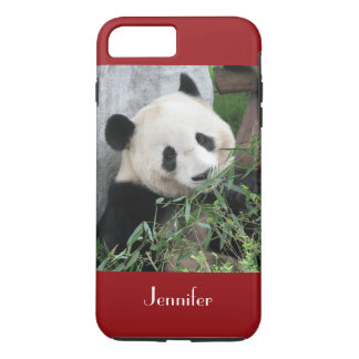 Cute Giant Panda, Dark Red, Custom with Name iPhone 8 Plus/7 Plus Case