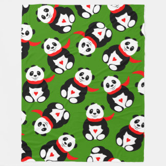 Cute Giant Pandas with Bowler Hats and Red Scarves Fleece Blanket