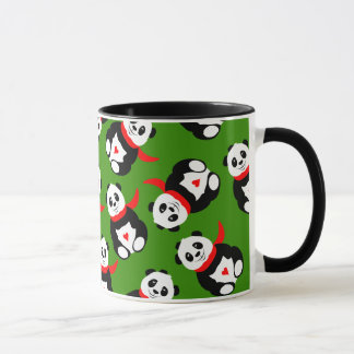 Cute Giant Pandas with Bowler Hats and Red Scarves Mug