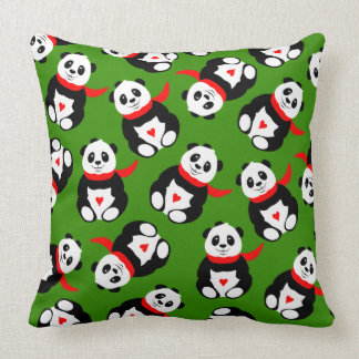 Cute Giant Pandas with Bowler Hats and Red Scarves Throw Pillow