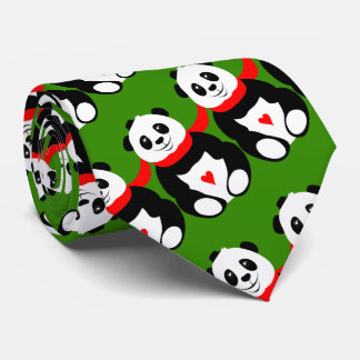 Cute Giant Pandas with Bowler Hats and Red Scarves Tie