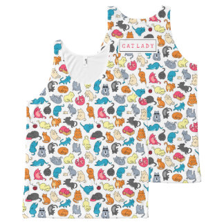 Cute Gift for Cat Lover Cat Mom Personalized All-Over-Print Tank Top