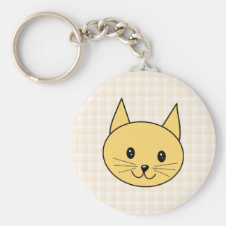Cute Ginger Cat. Check background. Keychain
