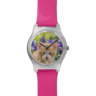 Cute Ginger Cat Kitten Flowery Garden - dial-plate Watch