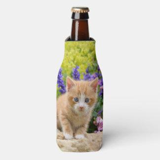 Cute Ginger Cat Kitten in Flowers - Bottle-Jacket