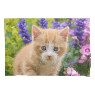 Cute Ginger Cat Kitten in Flowery Garden Portrait Pillowcase