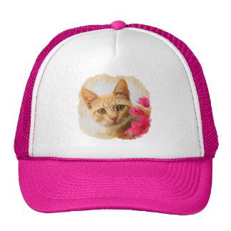 Cute Ginger Cat Kitten Watching Portrait Photo cap Trucker Hat