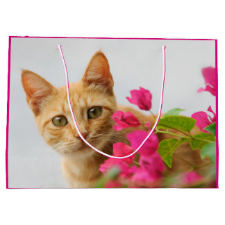 Cute Ginger Cat Kitten Watching You Portrait Photo Large Gift Bag
