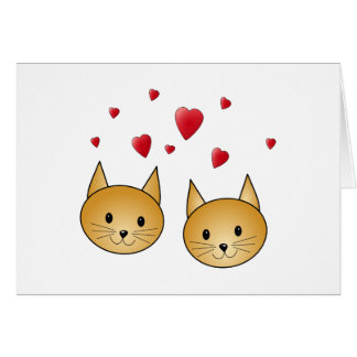 Cute Ginger cats. With Red Love Hearts. Card