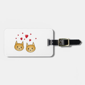 Cute Ginger cats. With Red Love Hearts. Luggage Tag