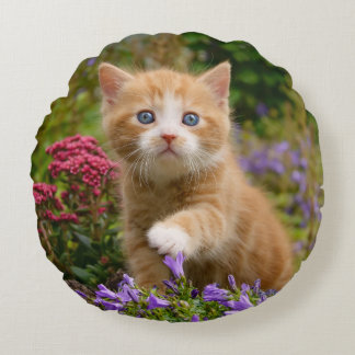 Cute ginger kitten in a garden round pillow