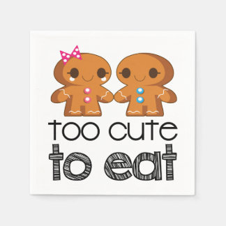 Cute Gingerbread Boy and Girl Cookies Paper Napkin