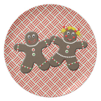 Cute Gingerbread Boy Girl Husband Wife Christmas Party Plates