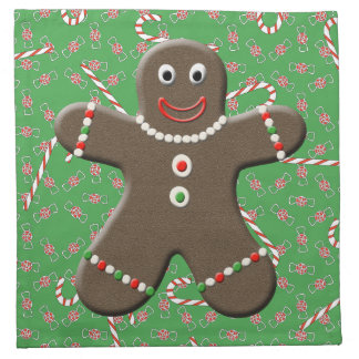 Cute Gingerbread Boy Man Christmas Candy Canes Cloth Napkin
