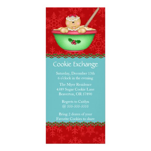 Cute Gingerbread Cookie Exchange Holiday Invite