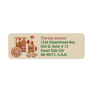 Cute Gingerbread Cookie Steam Locomotive Return Address Label