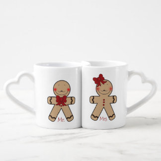 Cute Gingerbread Cookies Cartoon Coffee Mug Set