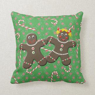 Cute Gingerbread Couple Boy Girl Christmas Candy Throw Pillow