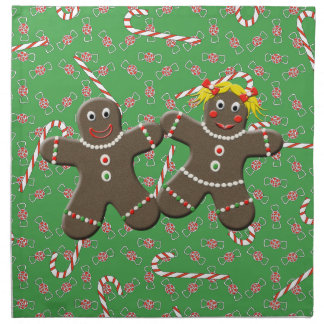 Cute Gingerbread Girl Boy Couple Christmas Candies Cloth Napkins