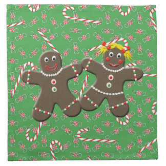 Cute Gingerbread Girl Boy Couple Christmas Candies Napkin
